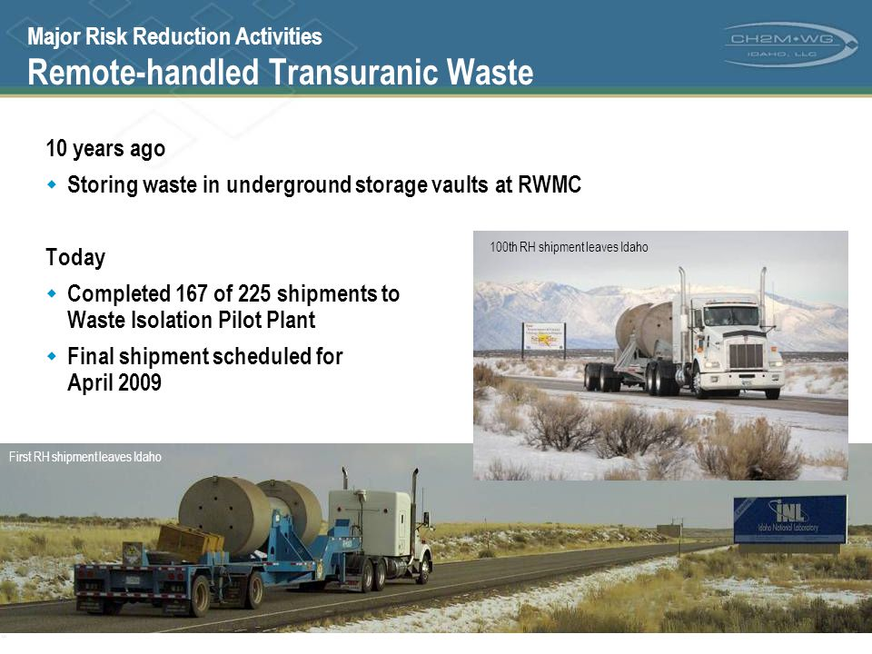 Major Risk Reduction Activities Remote-handled Transuranic Waste