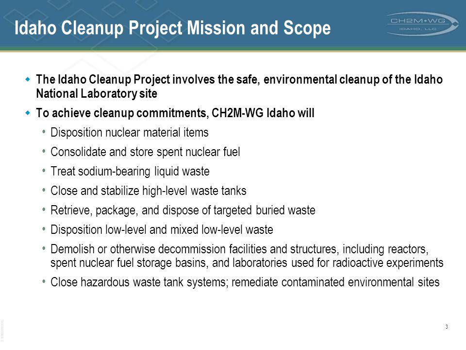 Idaho Cleanup Project Mission and Scope