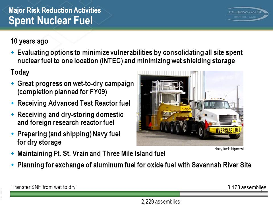 Major Risk Reduction Activities Spent Nuclear Fuel