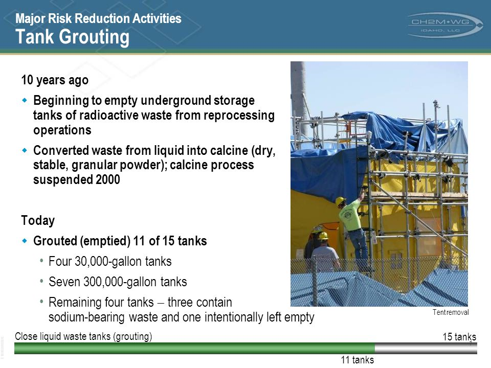 Major Risk Reduction Activities Tank Grouting