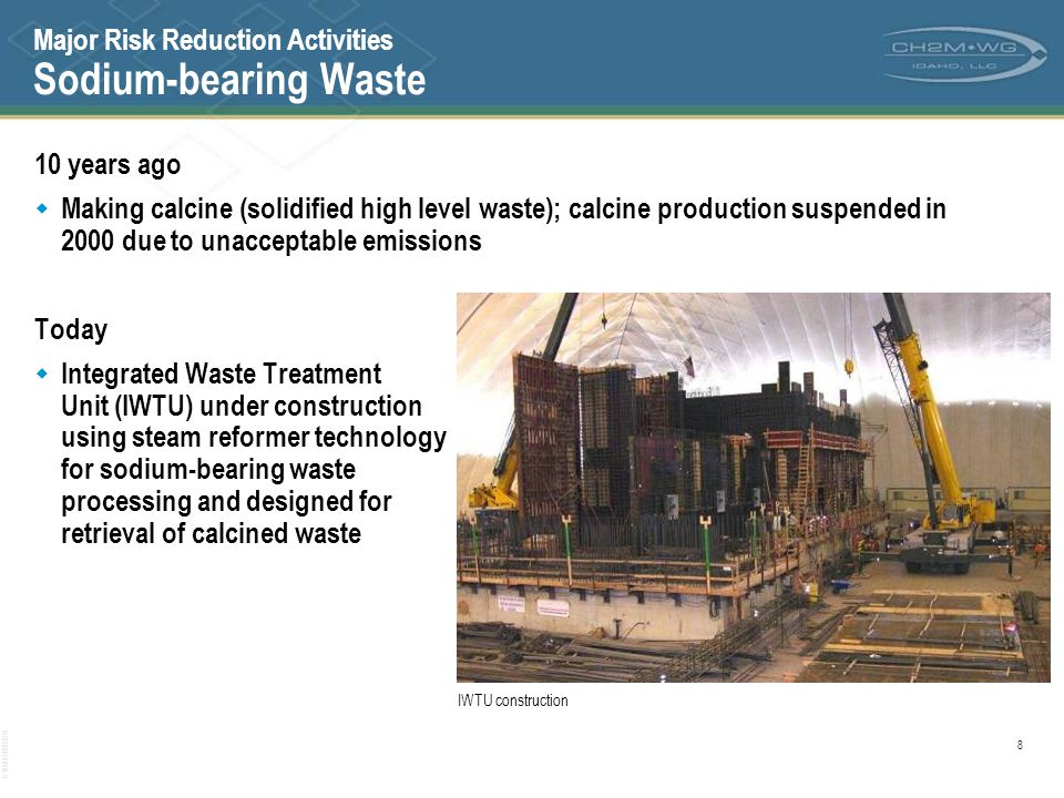 Major Risk Reduction Activities Sodium-bearing Waste