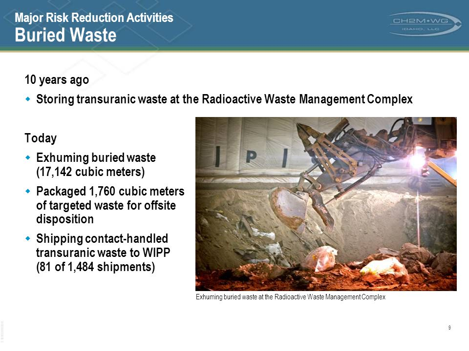 Major Risk Reduction Activities Buried Waste