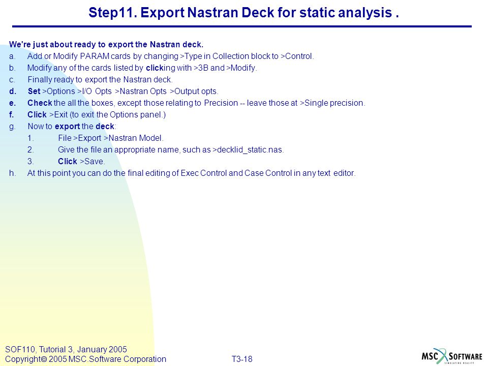 Step11. Export Nastran Deck for static analysis .