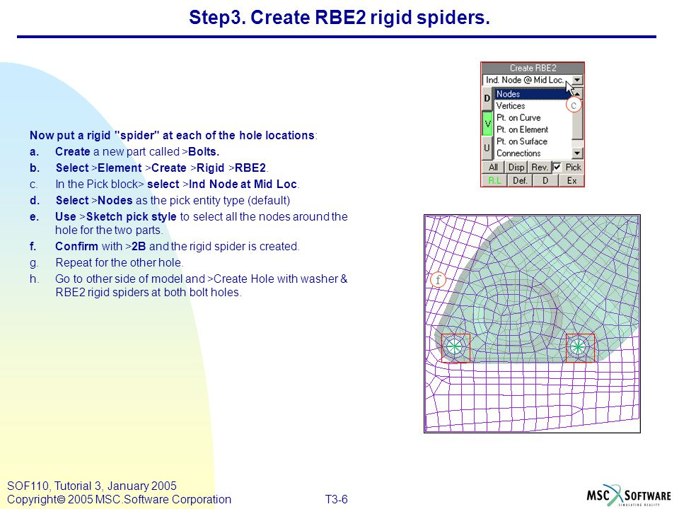 Step3. Create RBE2 rigid spiders.