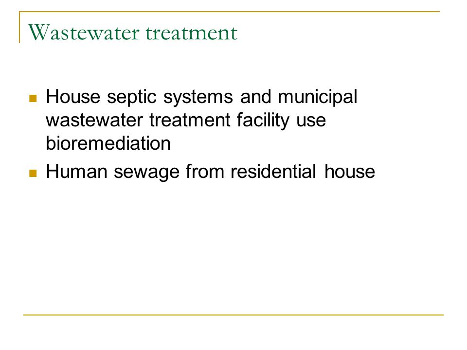 Wastewater treatment House septic systems and municipal wastewater treatment facility use bioremediation.