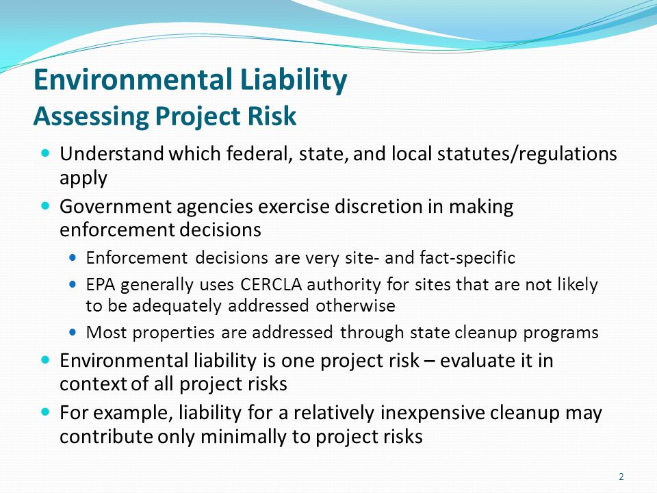 Environmental Liability Assessing Project Risk