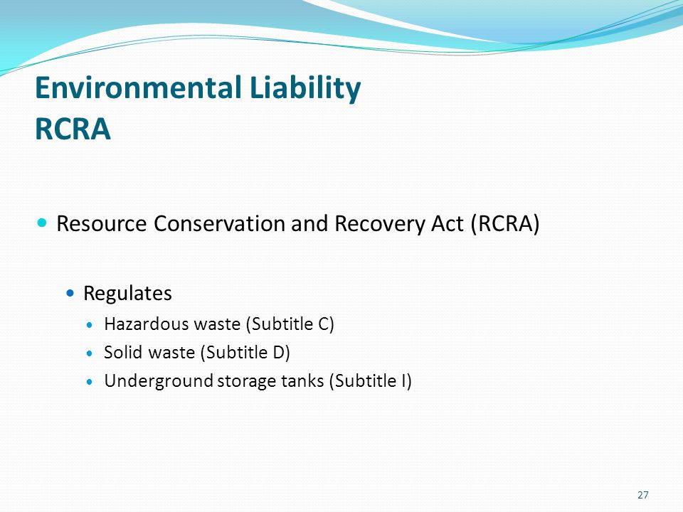 Environmental Liability RCRA