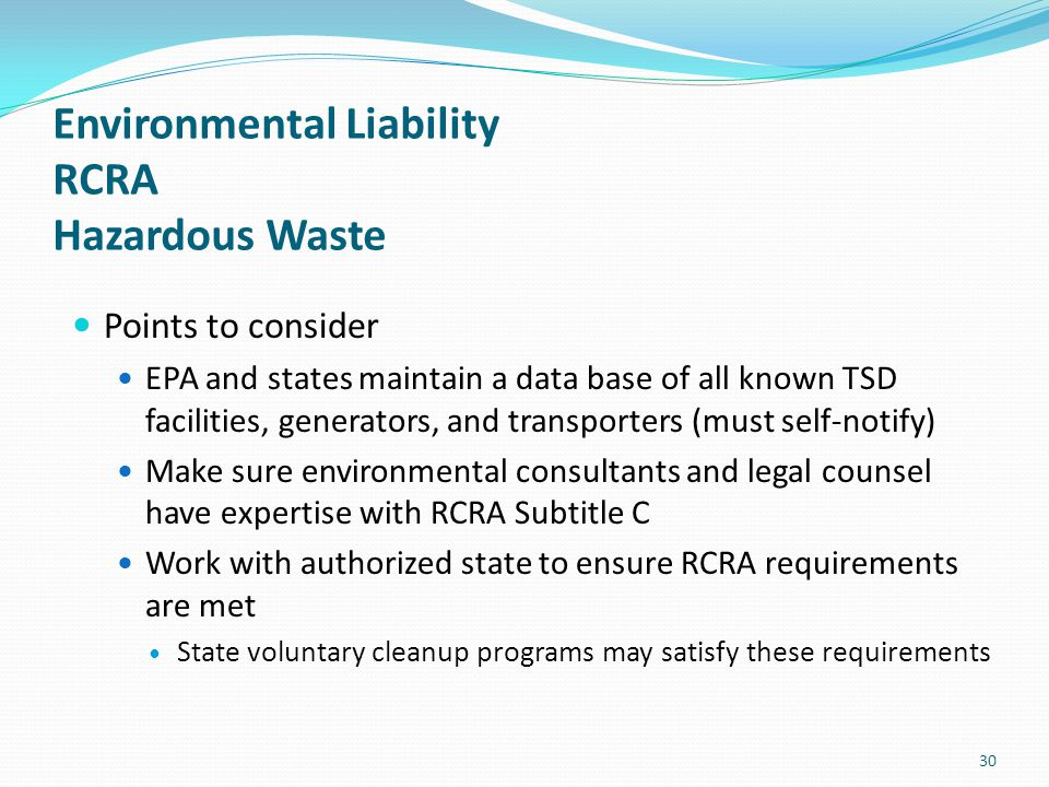 Environmental Liability RCRA Hazardous Waste
