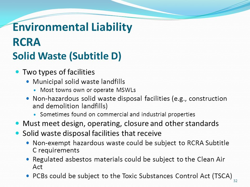 Environmental Liability RCRA Solid Waste (Subtitle D)