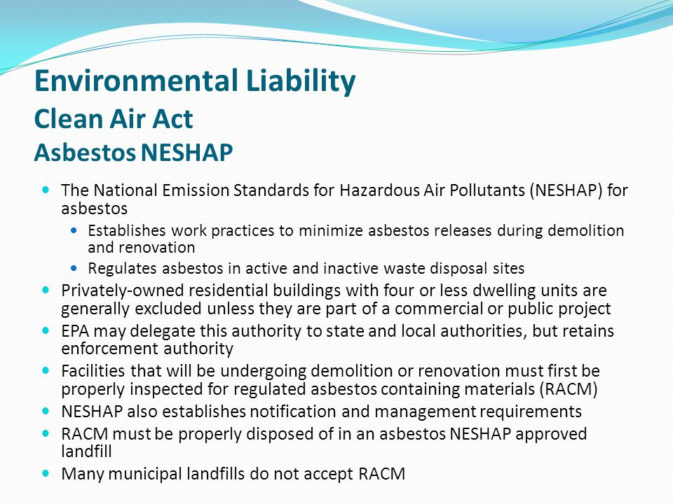 Environmental Liability Clean Air Act Asbestos NESHAP