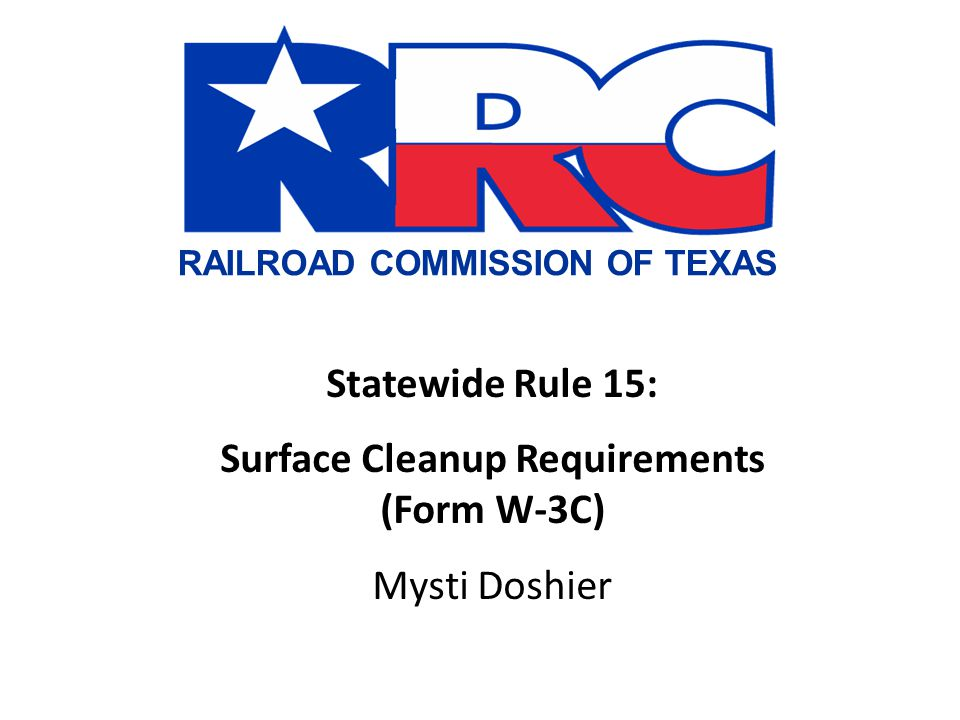Surface Cleanup Requirements (Form W-3C)