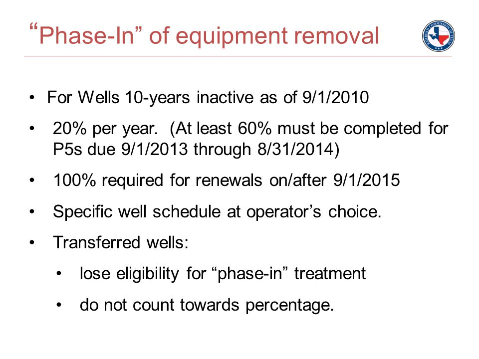 Phase-In of equipment removal