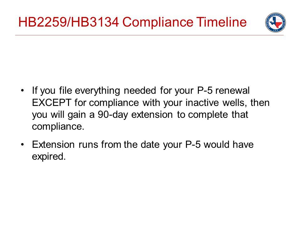 HB2259/HB3134 Compliance Timeline
