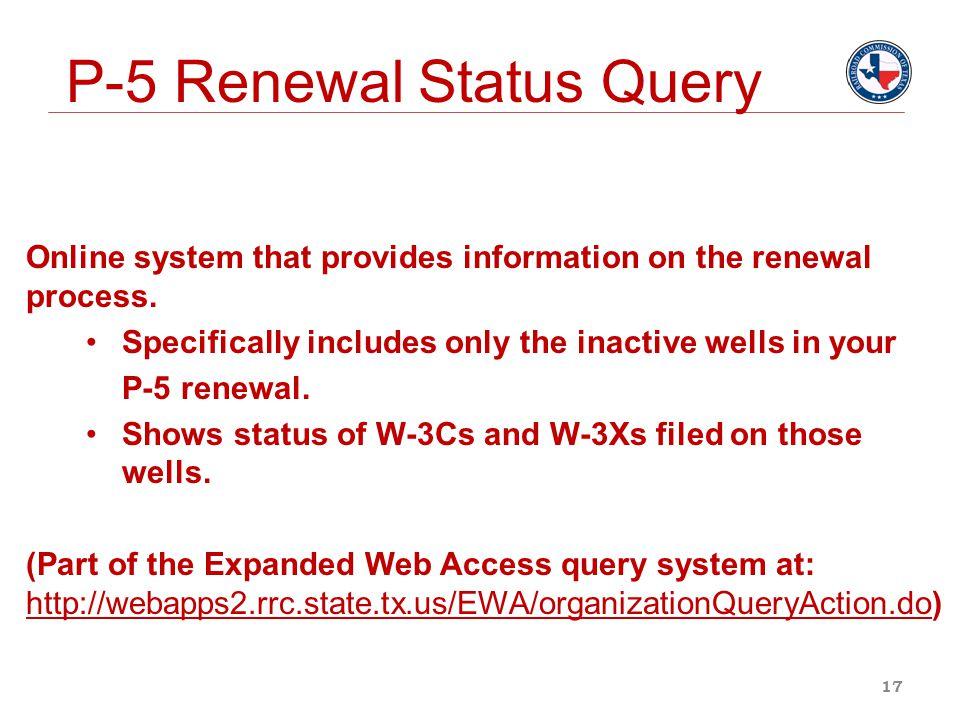 P-5 Renewal Status Query