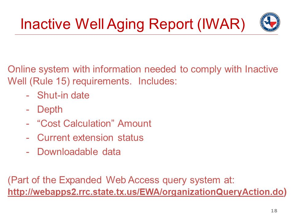 Inactive Well Aging Report (IWAR)