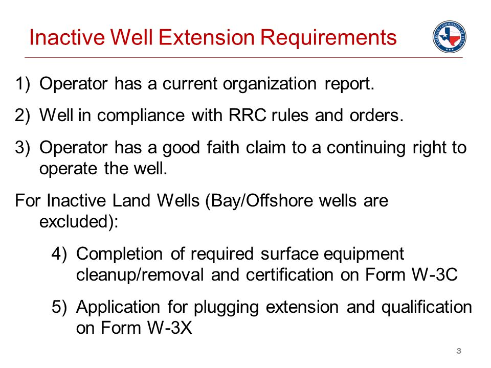 Inactive Well Extension Requirements
