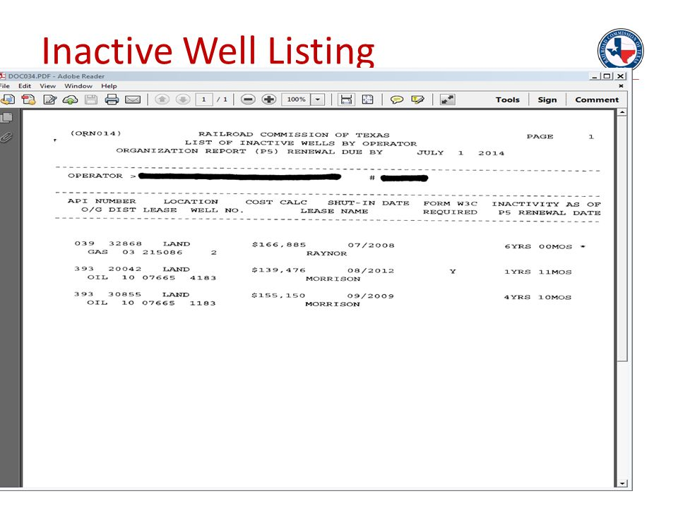 Inactive Well Listing