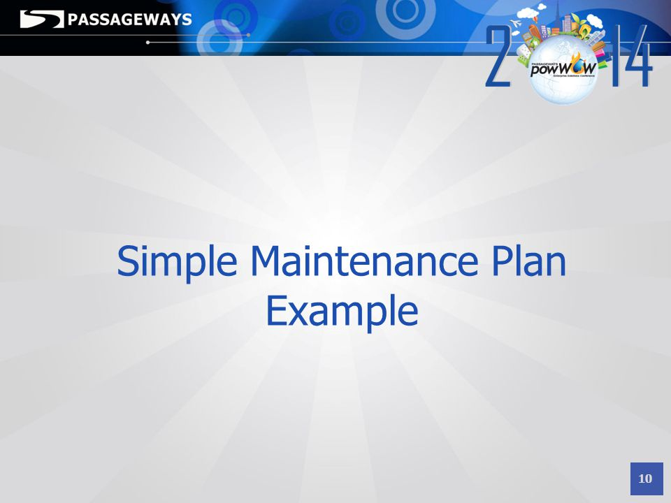 Simple Maintenance Plan Example
