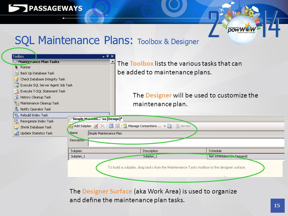 SQL Maintenance Plans: Toolbox & Designer