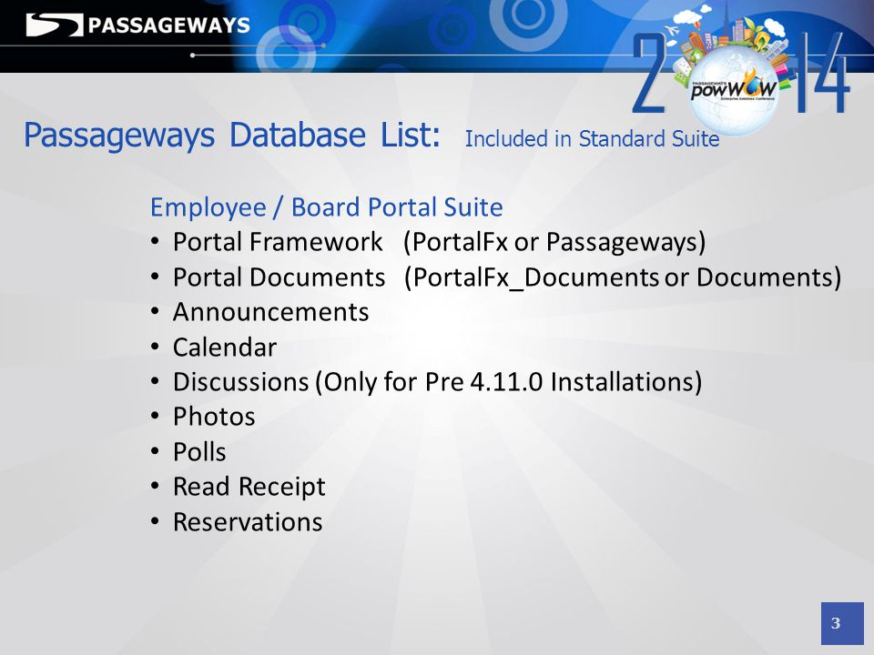 Passageways Database List: Included in Standard Suite
