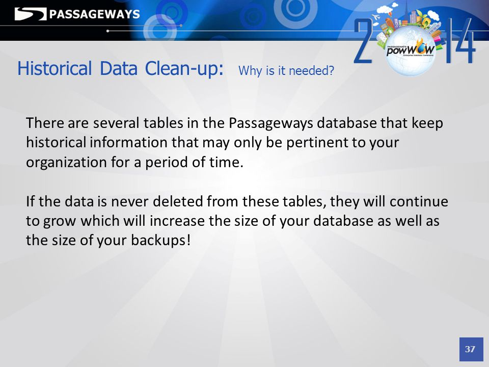 Historical Data Clean-up: Why is it needed