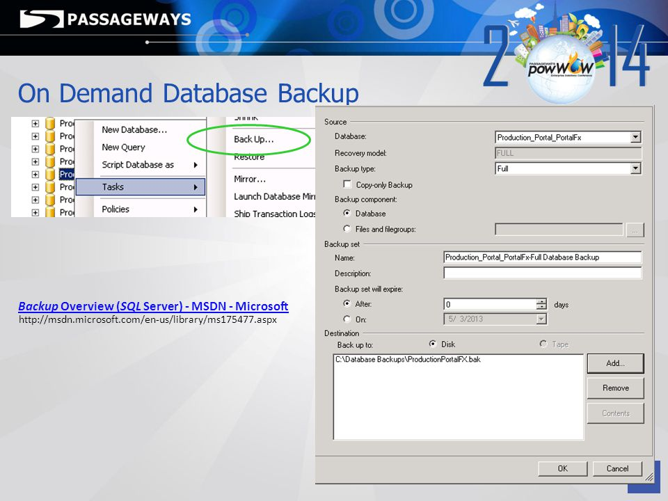 On Demand Database Backup