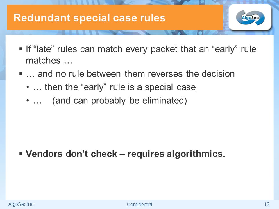 Redundant special case rules