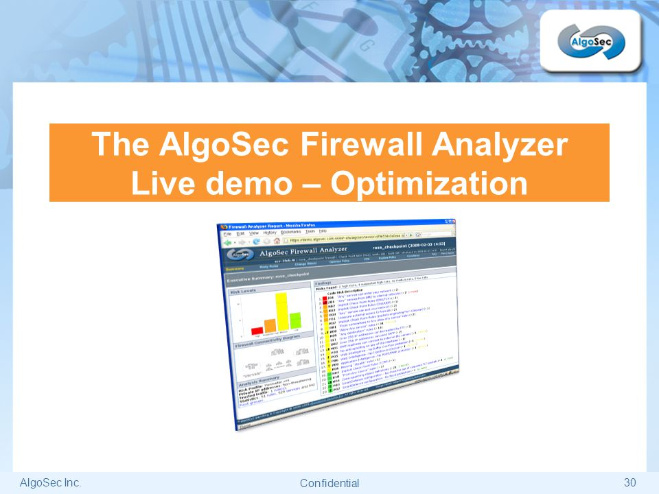 The AlgoSec Firewall Analyzer Live demo – Optimization