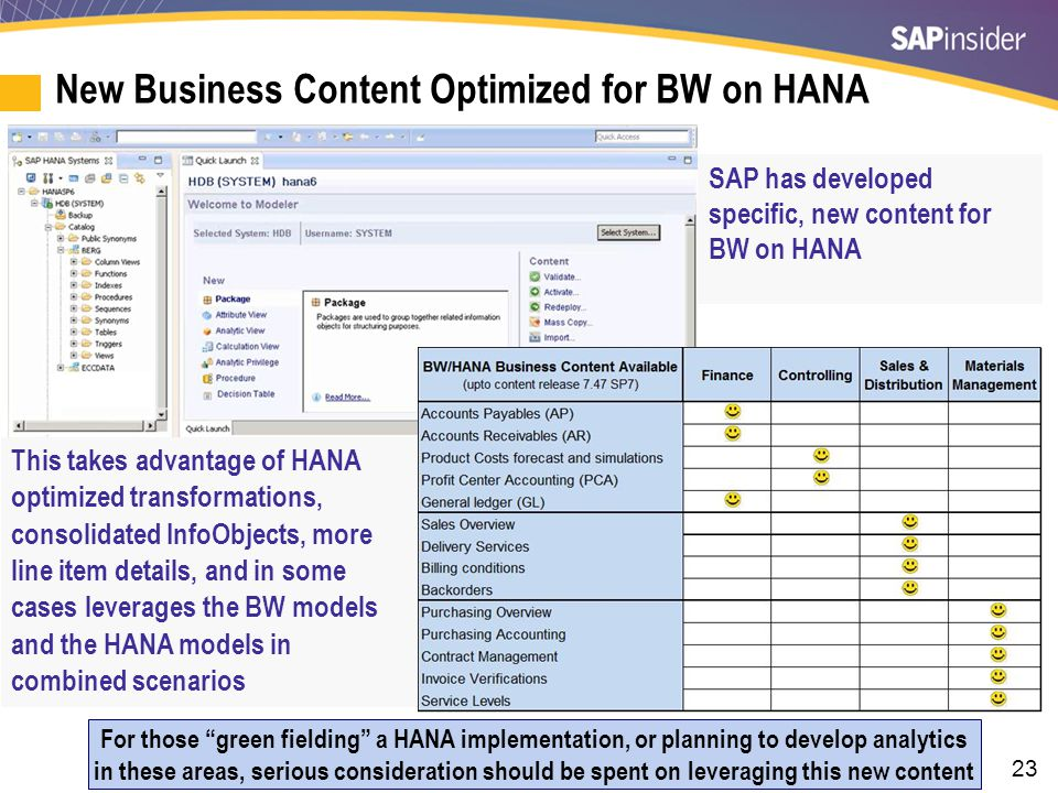 SAP HANA and BW 7.4 BW 7.4 on HANA introduces the Smart Data Access that allows us to create: Virtual table (real-time) links to a source system.
