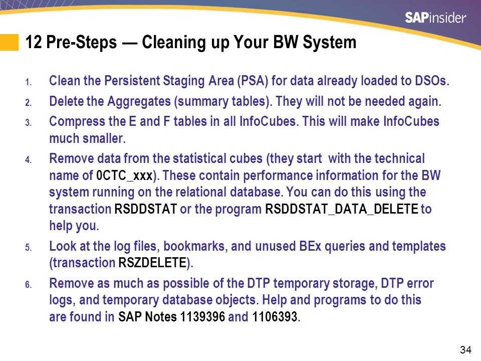12 Pre-Steps — Cleaning up Your BW System (cont.)