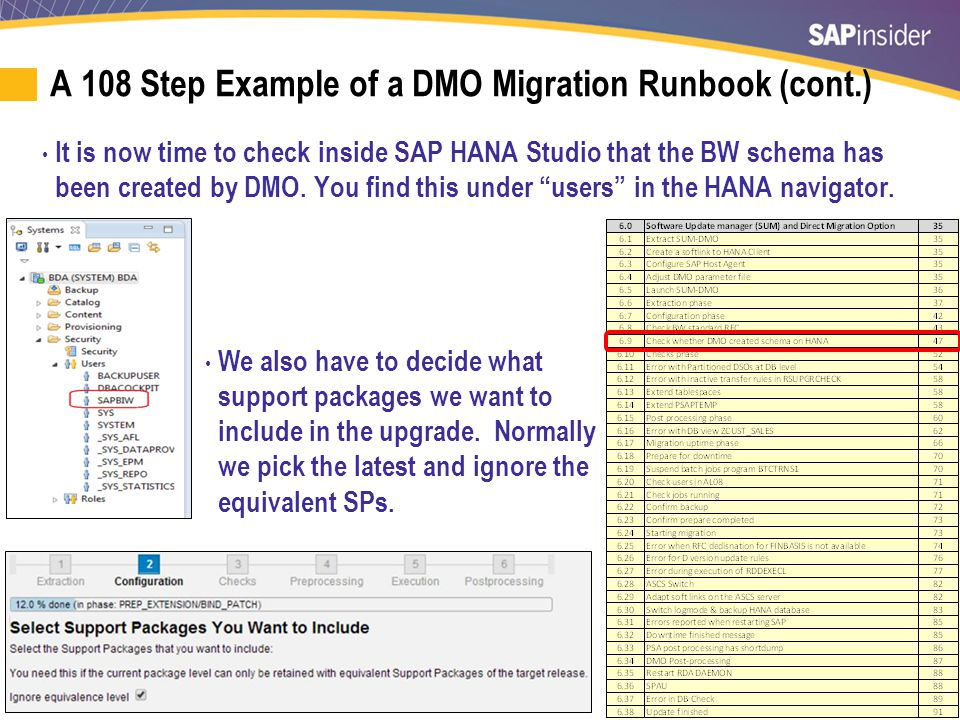 A 108 Step Example of a DMO Migration Runbook (cont.)
