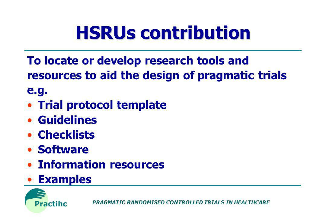 HSRUs contribution To locate or develop research tools and