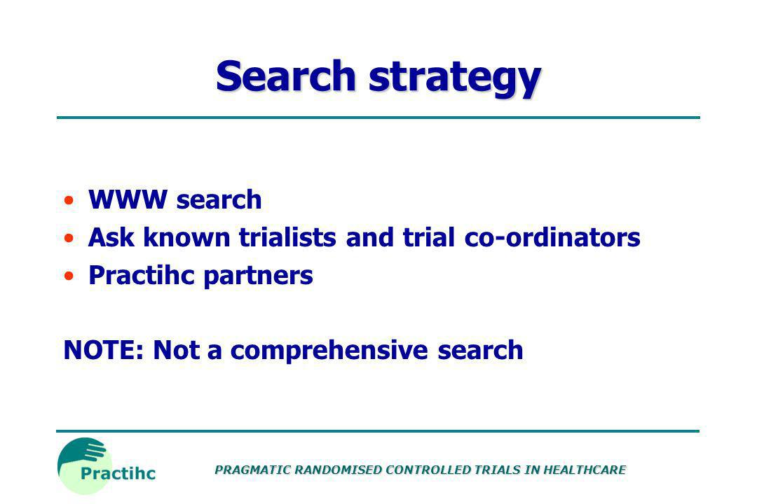 Search strategy WWW search Ask known trialists and trial co-ordinators