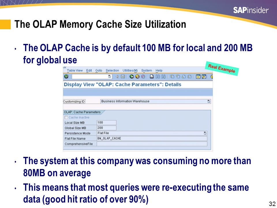 OLAP Cache — Turned Off Real Example.