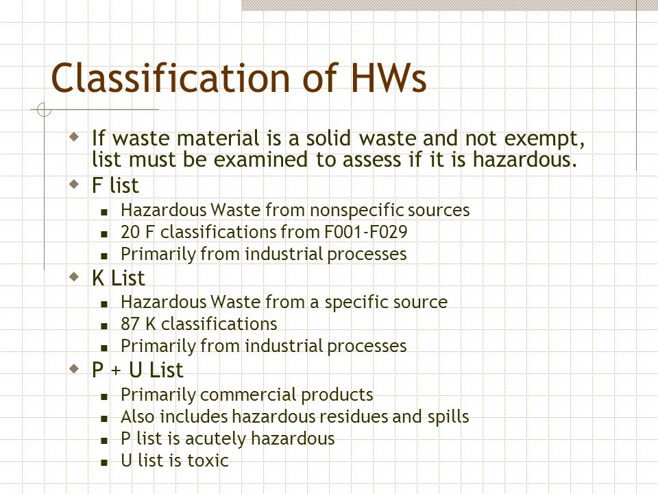 Classification of HWs If waste material is a solid waste and not exempt, list must be examined to assess if it is hazardous.
