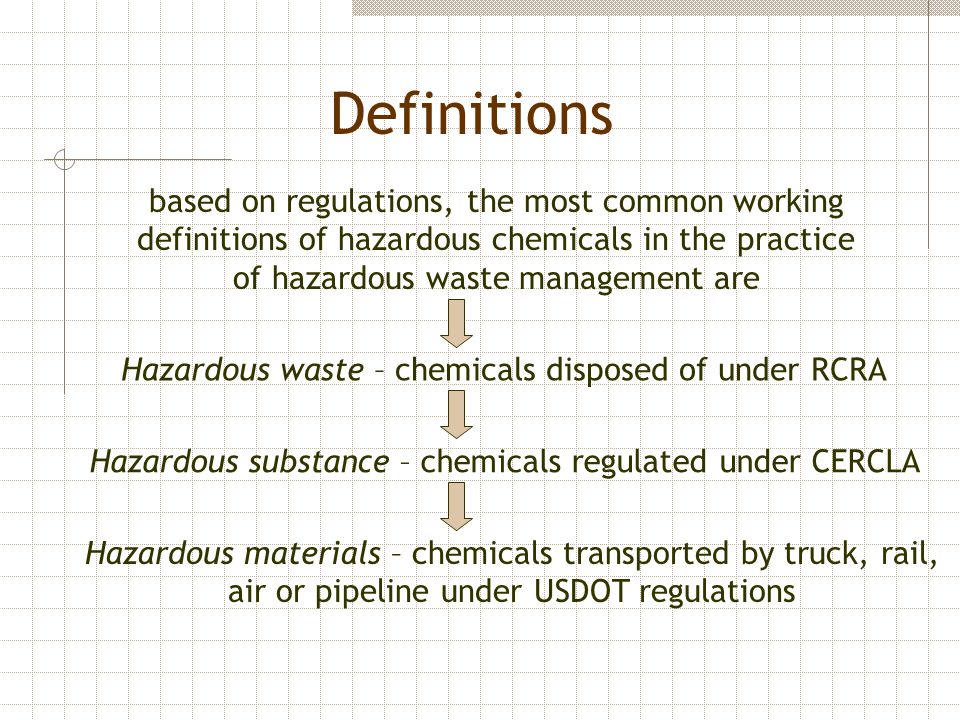 Definitions based on regulations, the most common working definitions of hazardous chemicals in the practice of hazardous waste management are.