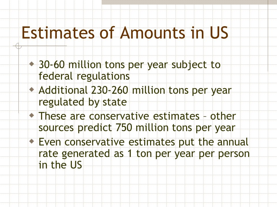 Estimates of Amounts in US