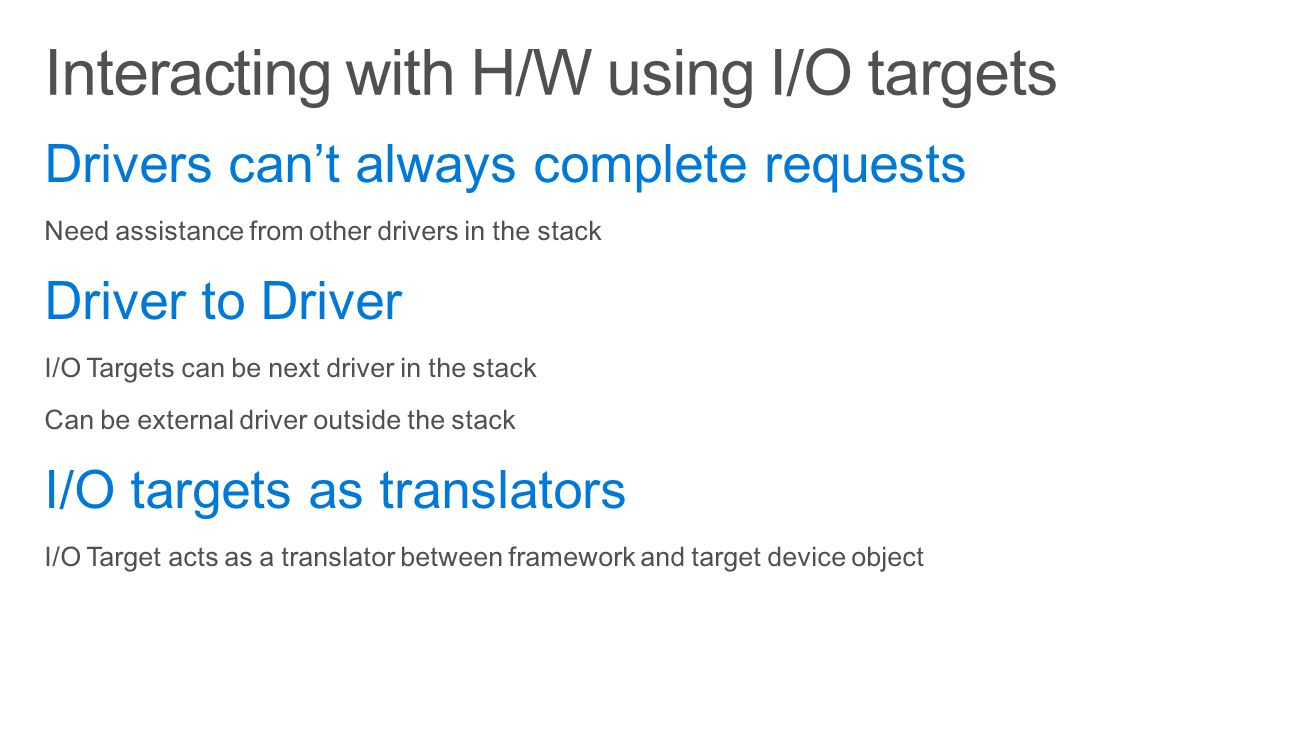Interacting with H/W using I/O targets