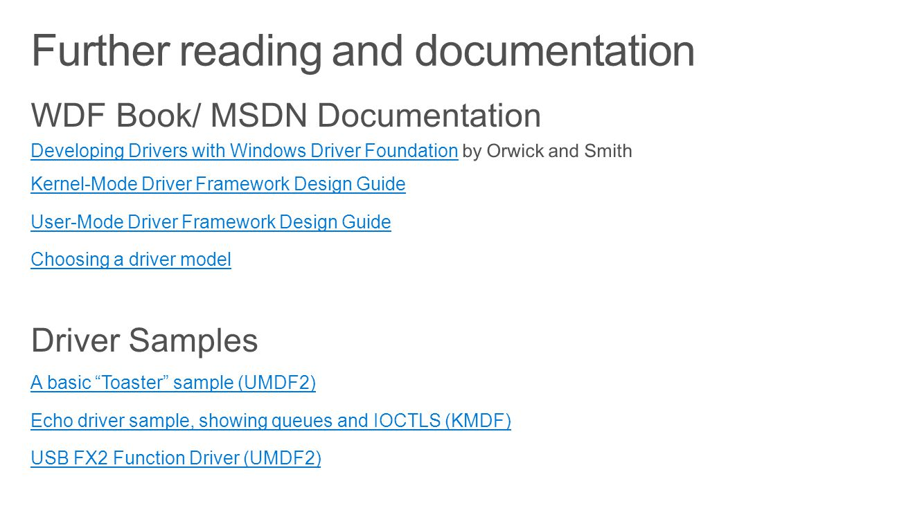 Further reading and documentation