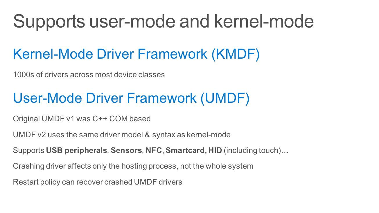 Supports user-mode and kernel-mode