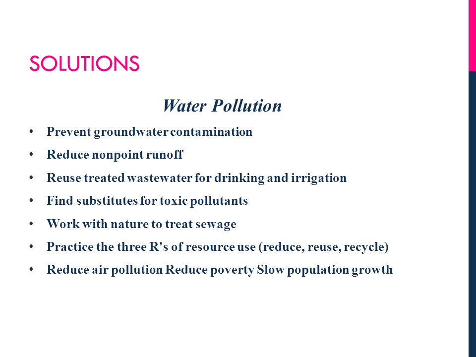 Solutions Water Pollution Prevent groundwater contamination