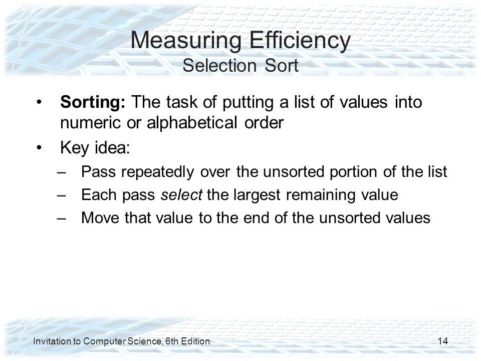 Measuring Efficiency Selection Sort