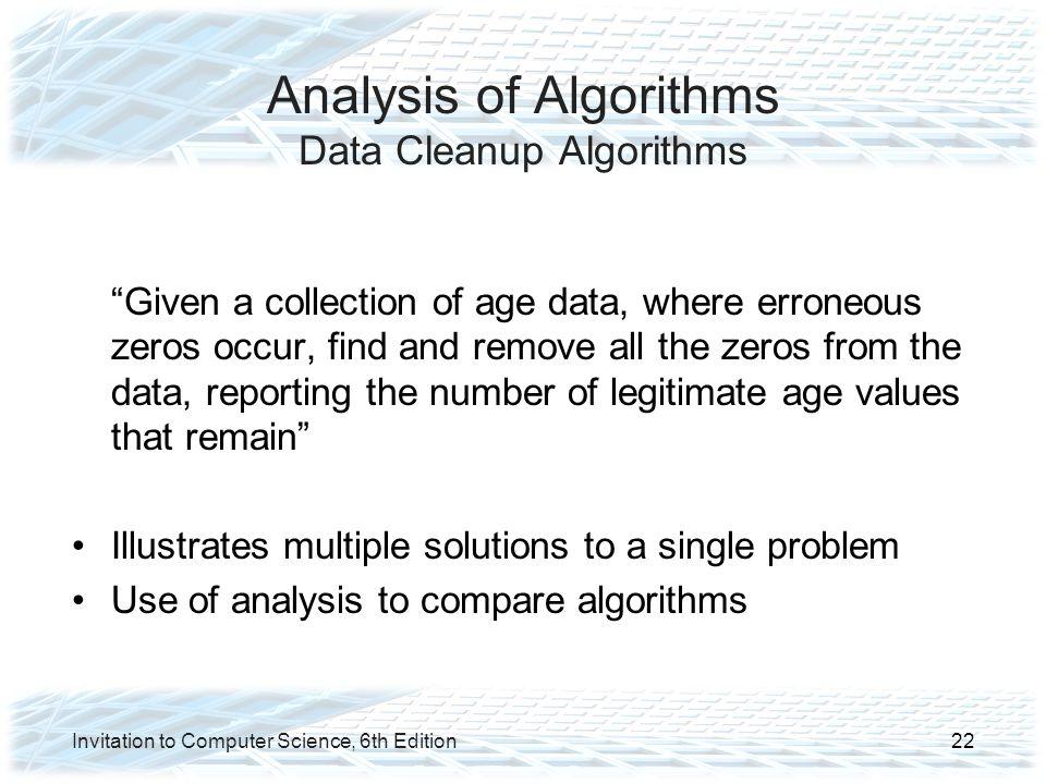 Analysis of Algorithms Data Cleanup Algorithms
