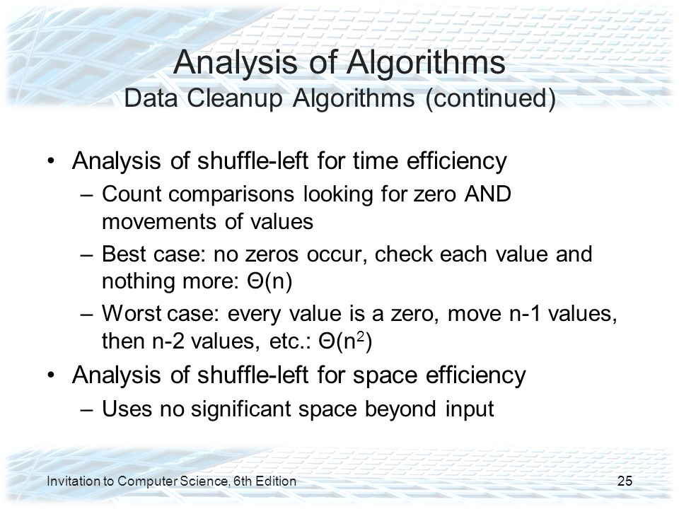 Analysis of Algorithms Data Cleanup Algorithms (continued)