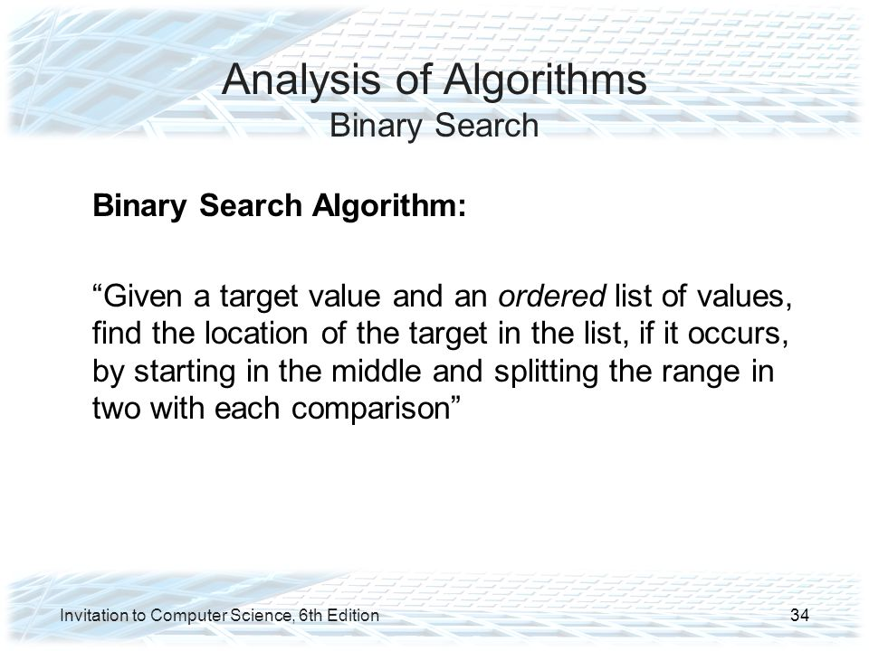 Analysis of Algorithms Binary Search