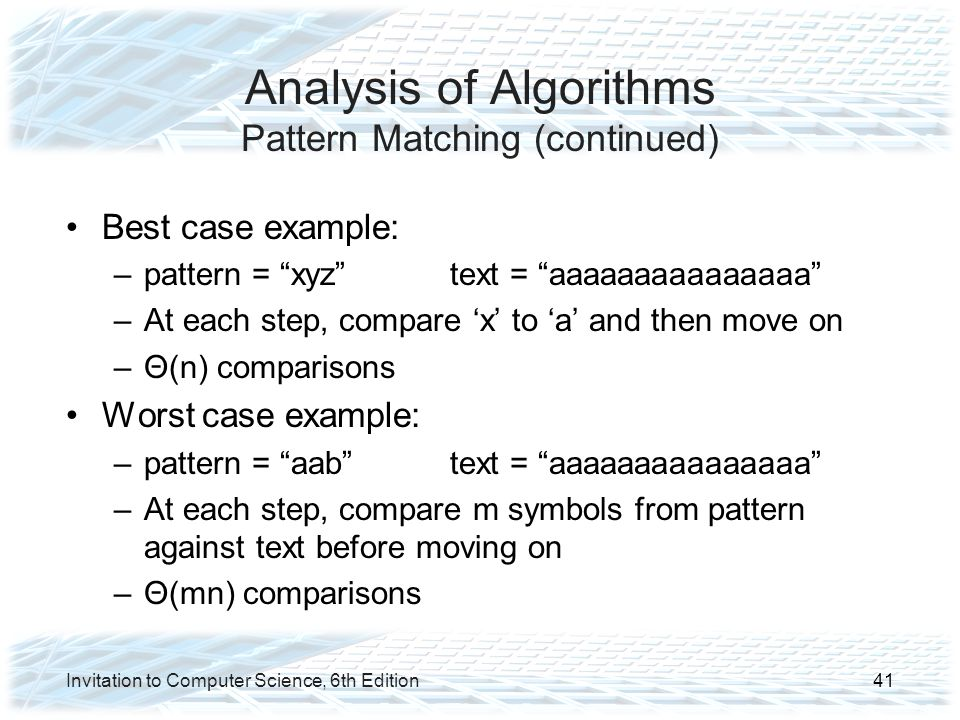 Analysis of Algorithms Pattern Matching (continued)