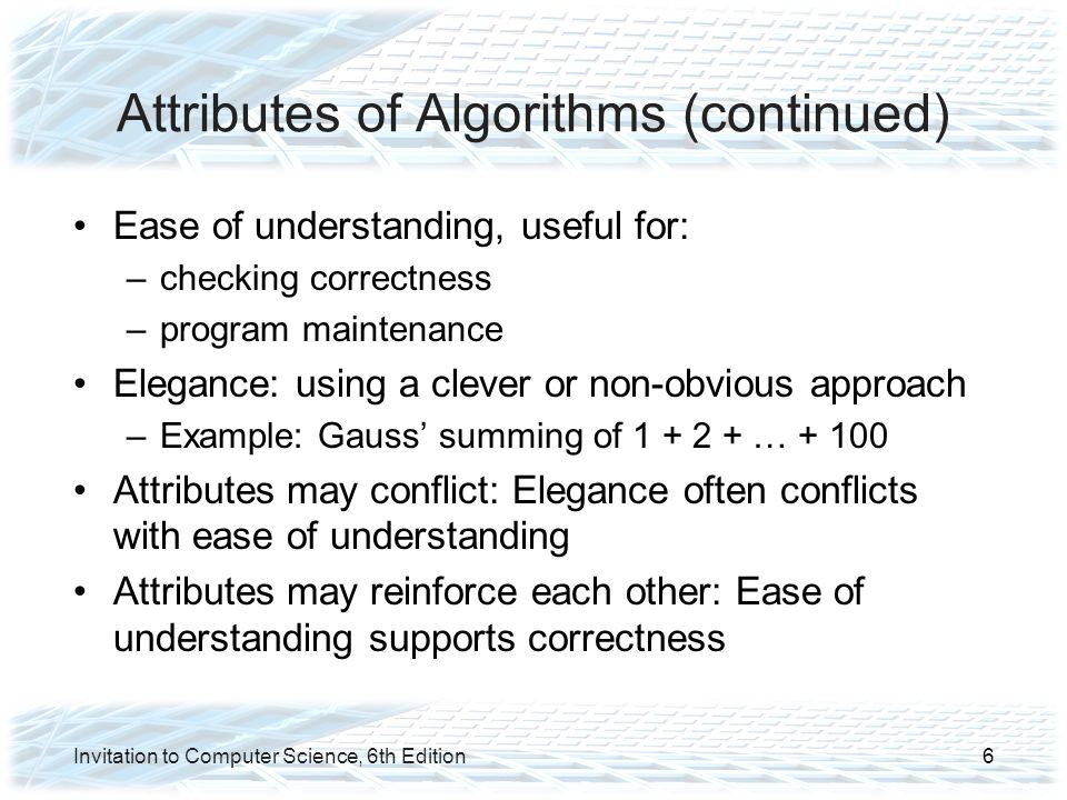 Attributes of Algorithms (continued)