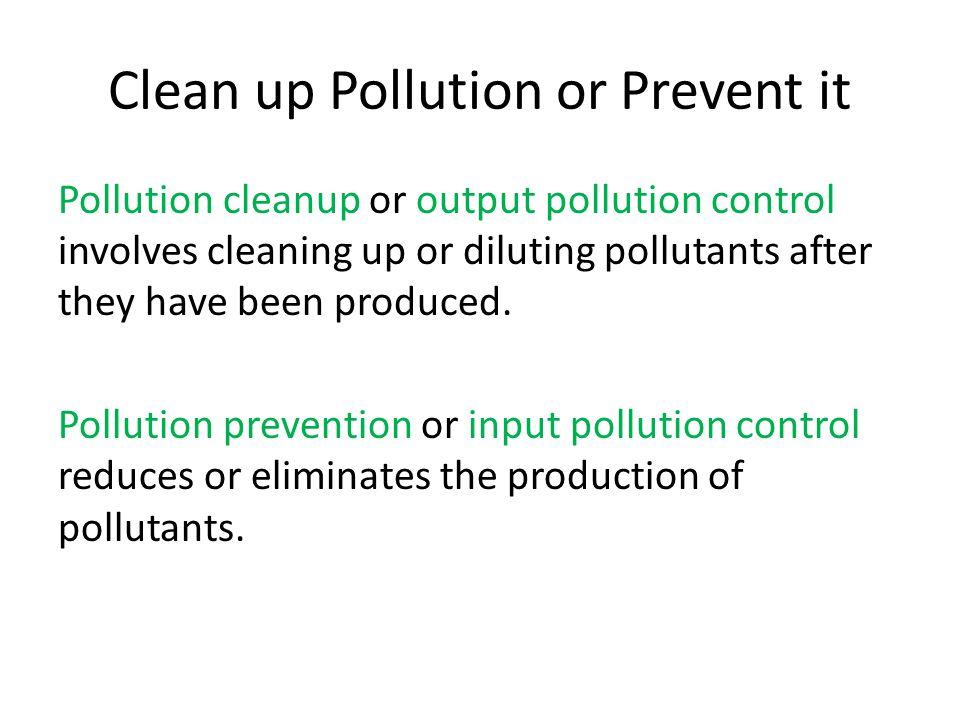 Clean up Pollution or Prevent it