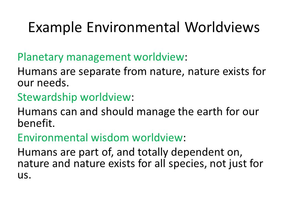 Example Environmental Worldviews
