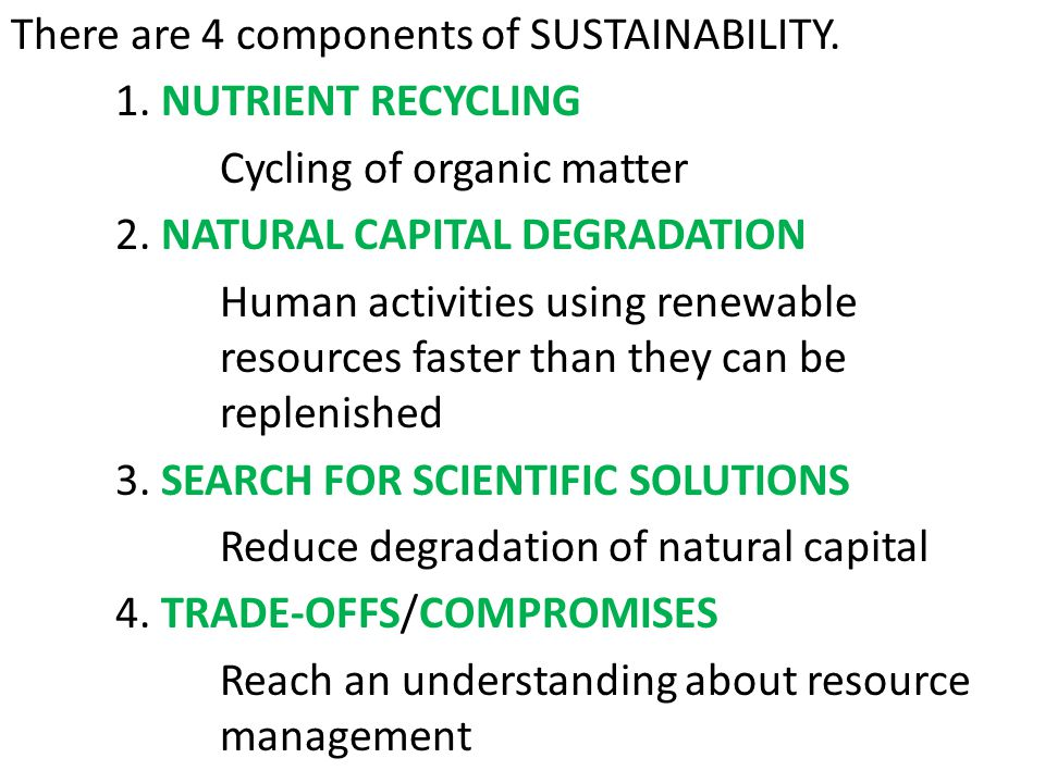 There are 4 components of SUSTAINABILITY. 1